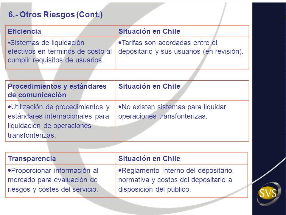 EficienciaSituación en Chile Sistemas de liquidación efectivos en términos de costo al cumplir requisitos de usuarios. Tarifas son acordadas entre el