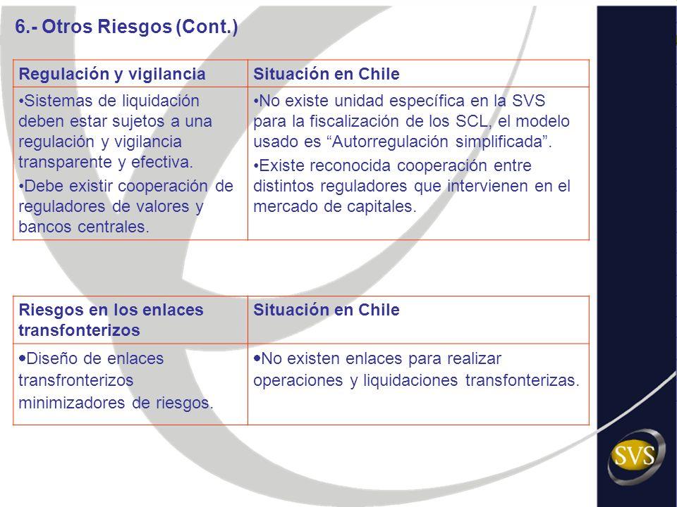 Regulación y vigilanciaSituación en Chile Sistemas de liquidación deben estar sujetos a una regulación y vigilancia transparente y efectiva. Debe exis