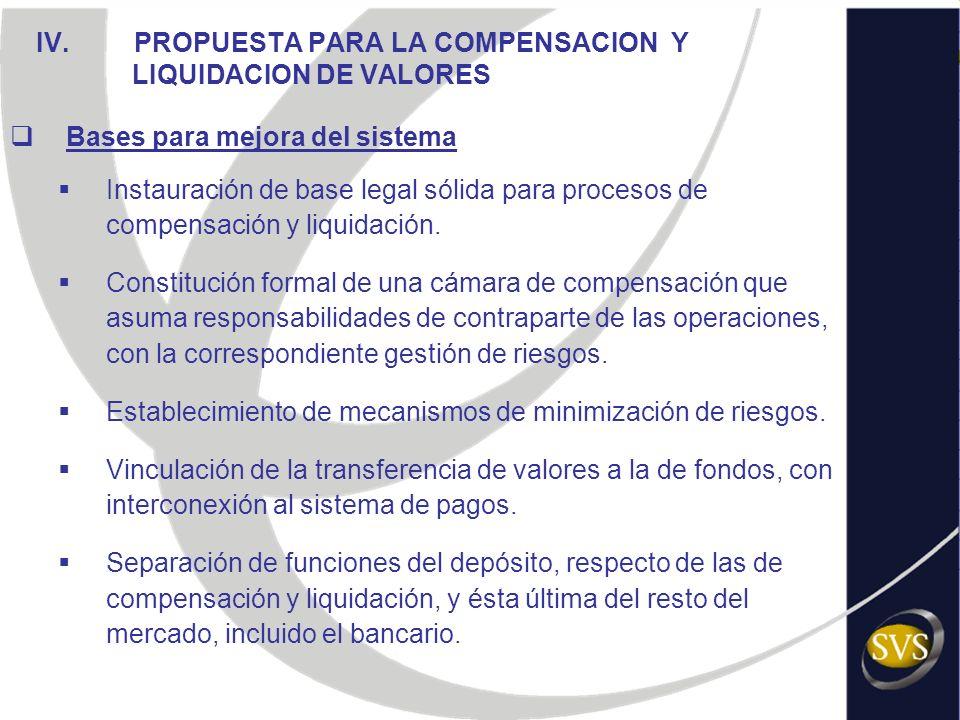 IV. PROPUESTA PARA LA COMPENSACION Y LIQUIDACION DE VALORES Bases para mejora del sistema Instauración de base legal sólida para procesos de compensac