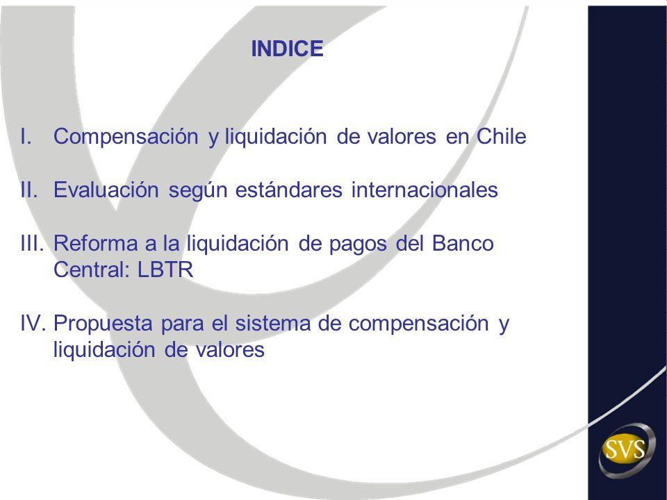 INDICE I.Compensación y liquidación de valores en Chile II.Evaluación según estándares internacionales III.Reforma a la liquidación de pagos del Banco