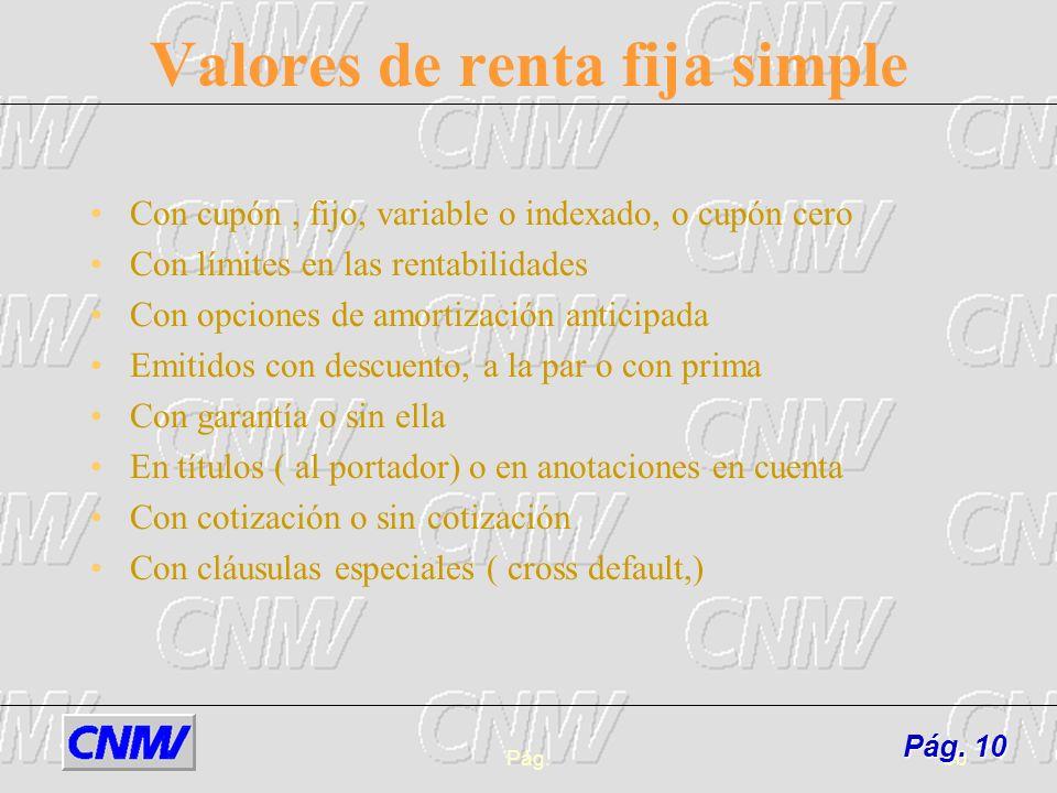 Pág.10 Valores de renta fija simple Con cupón, fijo, variable o indexado, o cupón cero Con límites en las rentabilidades Con opciones de amortización