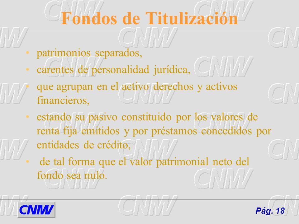 Pág.18 Fondos de Titulización patrimonios separados, carentes de personalidad jurídica, que agrupan en el activo derechos y activos financieros, estan