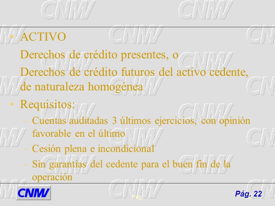 Pág.22 ACTIVO Derechos de crédito presentes, o Derechos de crédito futuros del activo cedente, de naturaleza homogénea Requisitos: –Cuentas auditadas
