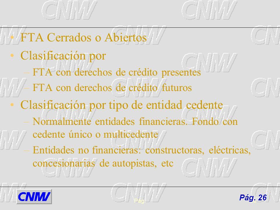 Pág.26 FTA Cerrados o Abiertos Clasificación por –FTA con derechos de crédito presentes –FTA con derechos de crédito futuros Clasificación por tipo de