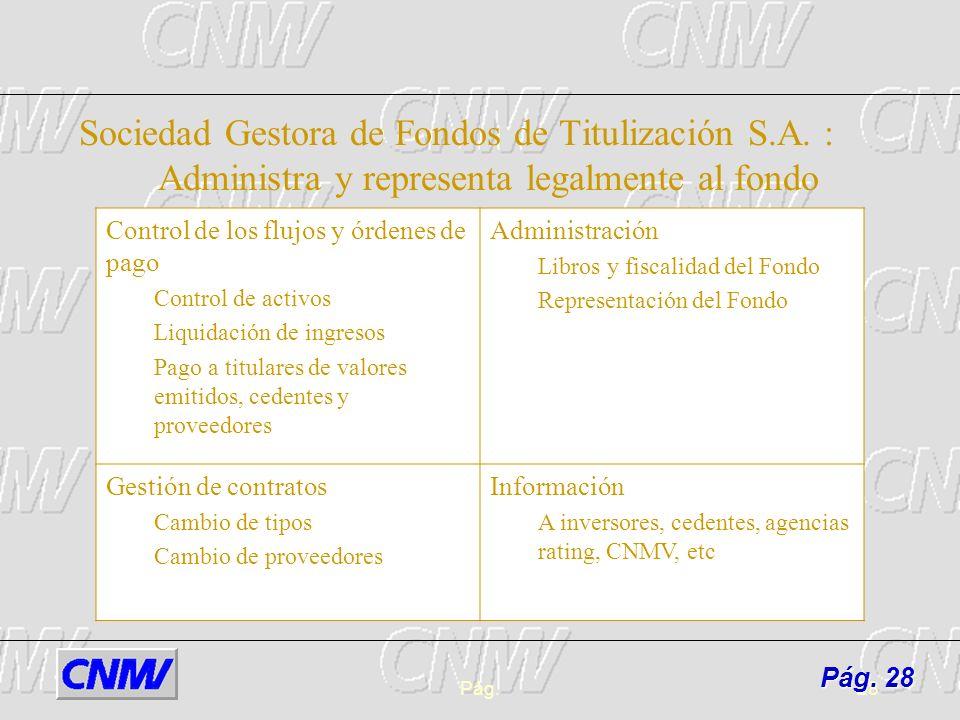 Pág.28 Sociedad Gestora de Fondos de Titulización S.A. : Administra y representa legalmente al fondo Control de los flujos y órdenes de pago Control d