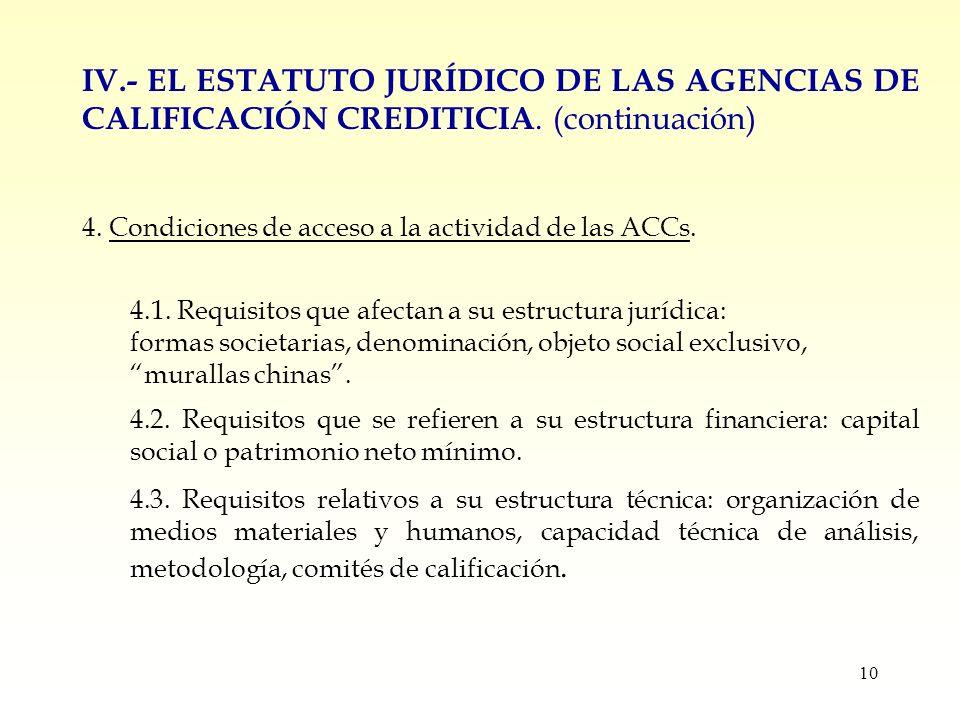 10 IV.- EL ESTATUTO JURÍDICO DE LAS AGENCIAS DE CALIFICACIÓN CREDITICIA.