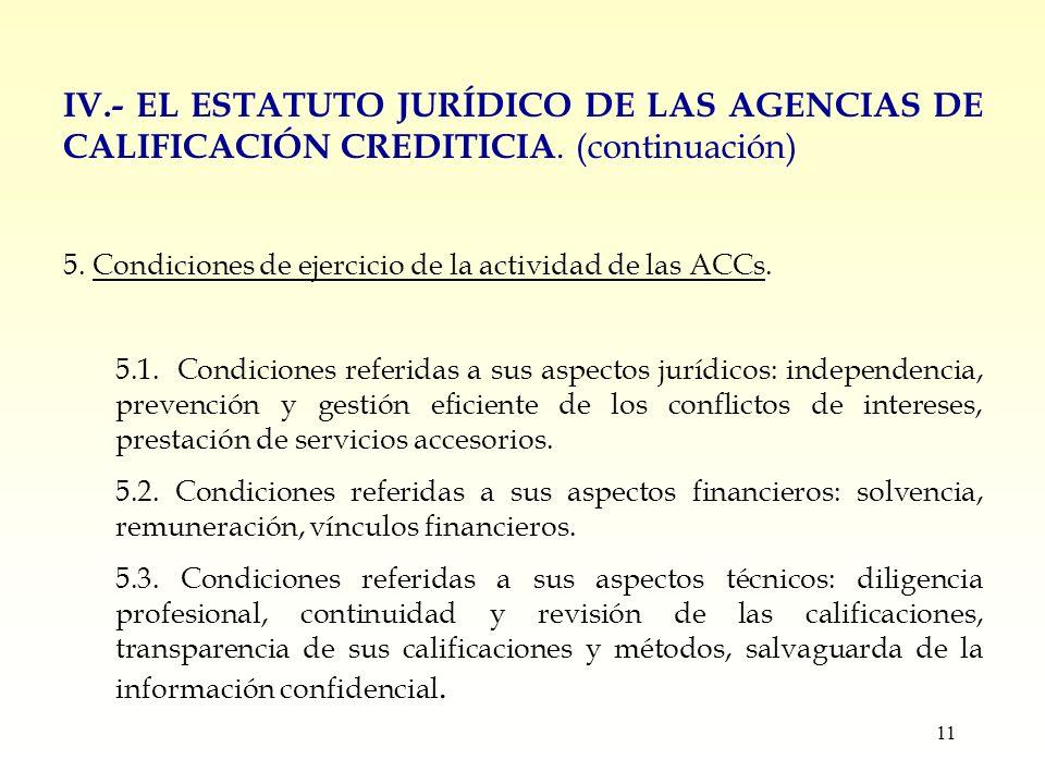 11 IV.- EL ESTATUTO JURÍDICO DE LAS AGENCIAS DE CALIFICACIÓN CREDITICIA.