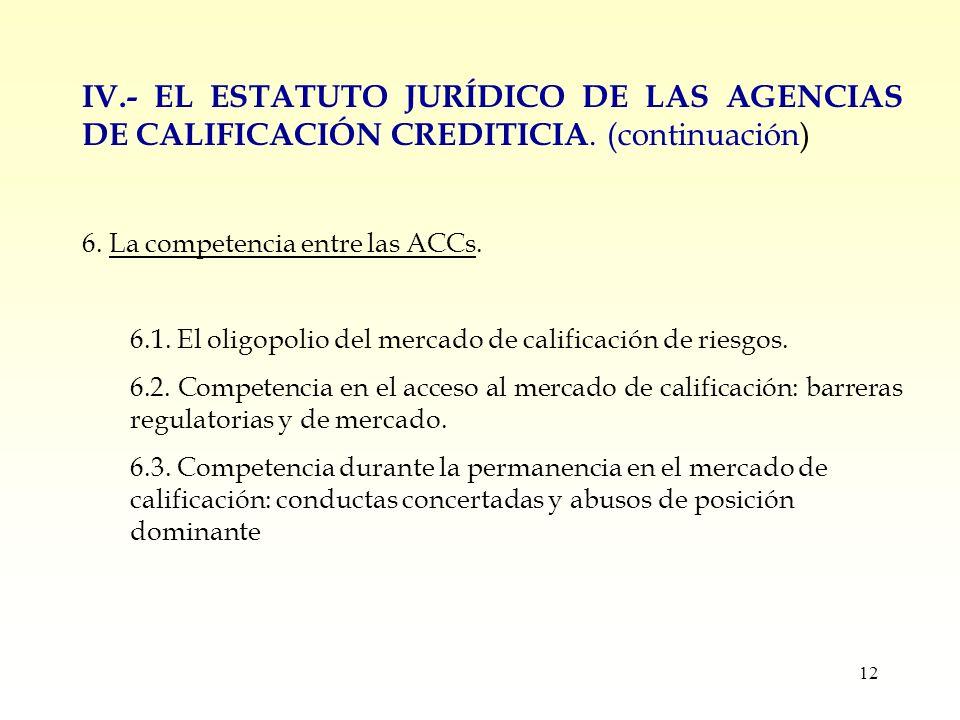 12 IV.- EL ESTATUTO JURÍDICO DE LAS AGENCIAS DE CALIFICACIÓN CREDITICIA.