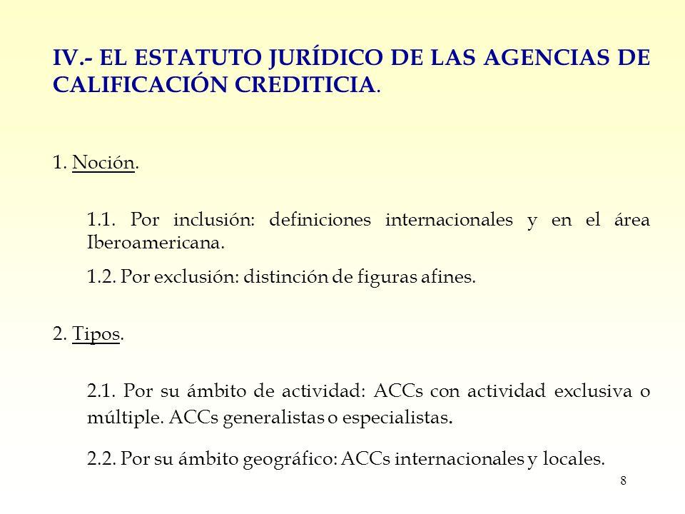 8 IV.- EL ESTATUTO JURÍDICO DE LAS AGENCIAS DE CALIFICACIÓN CREDITICIA.