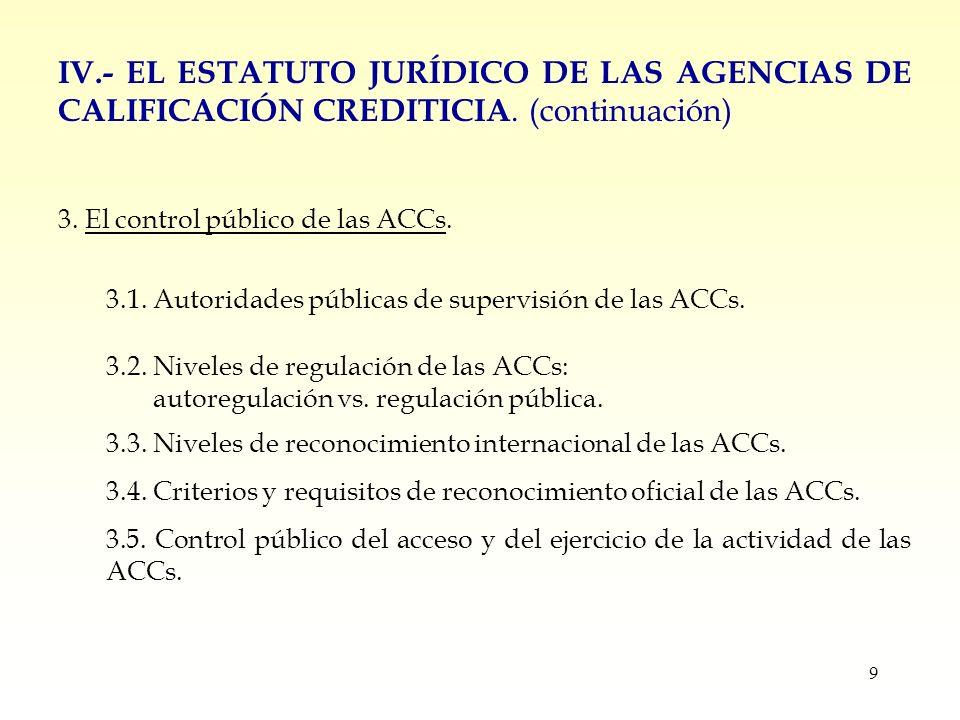 9 IV.- EL ESTATUTO JURÍDICO DE LAS AGENCIAS DE CALIFICACIÓN CREDITICIA.