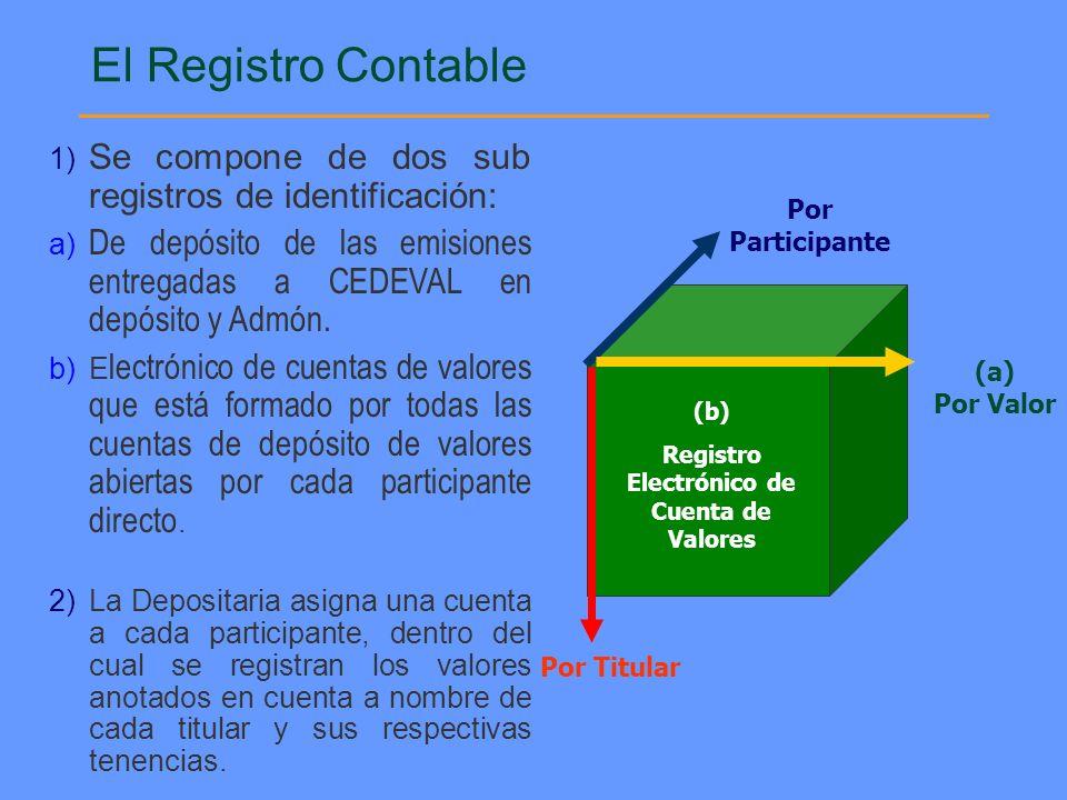 Por Participante Por Titular (a) Por Valor (b) Registro Electrónico de Cuenta de Valores 1) Se compone de dos sub registros de identificación: a) De d