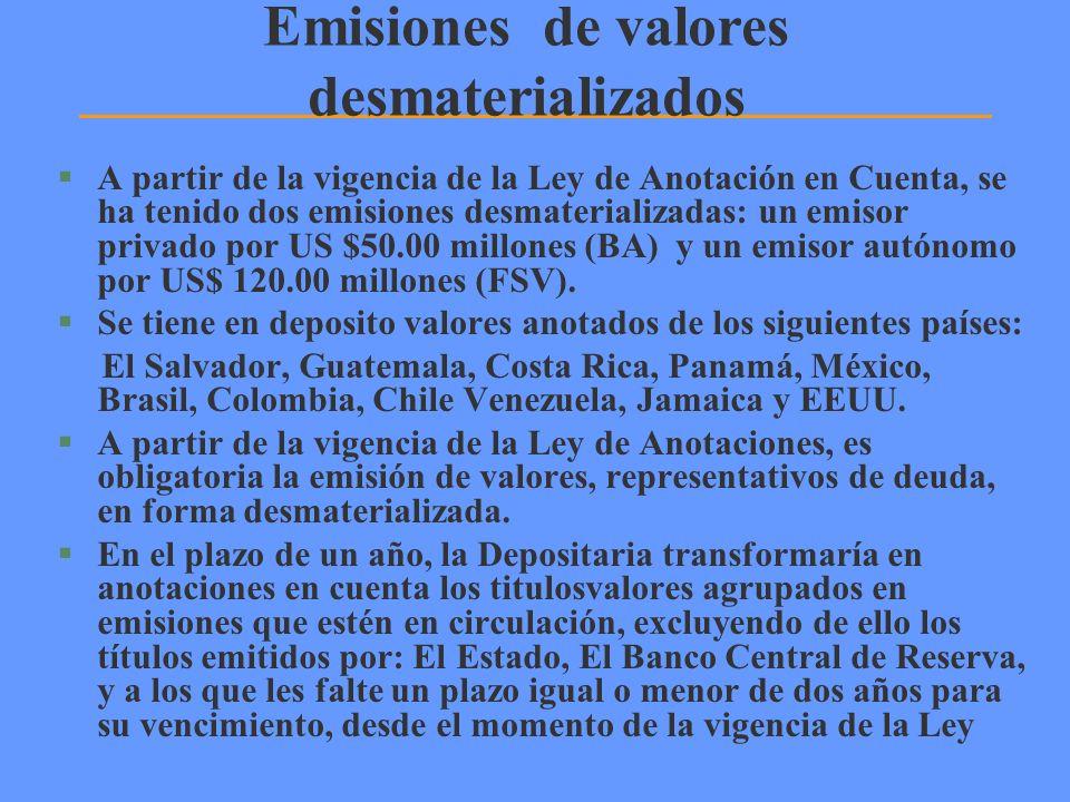 Emisiones de valores desmaterializados §A partir de la vigencia de la Ley de Anotación en Cuenta, se ha tenido dos emisiones desmaterializadas: un emi