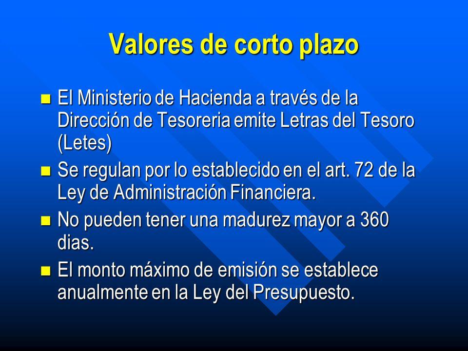 Valores emitidos por el Ministerio de Hacienda