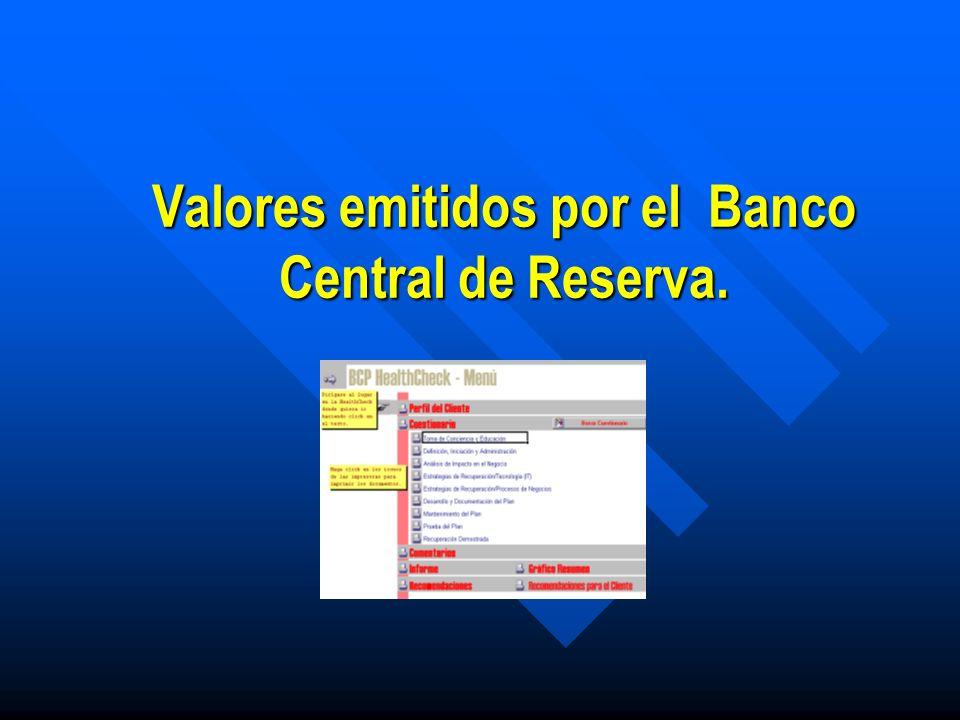 Emisores del Sector Público Los emisores del sector público, Banco Central de Reserva y Ministerio de Hacienda, tienen un proceso diferente de oferta y adjudicación.