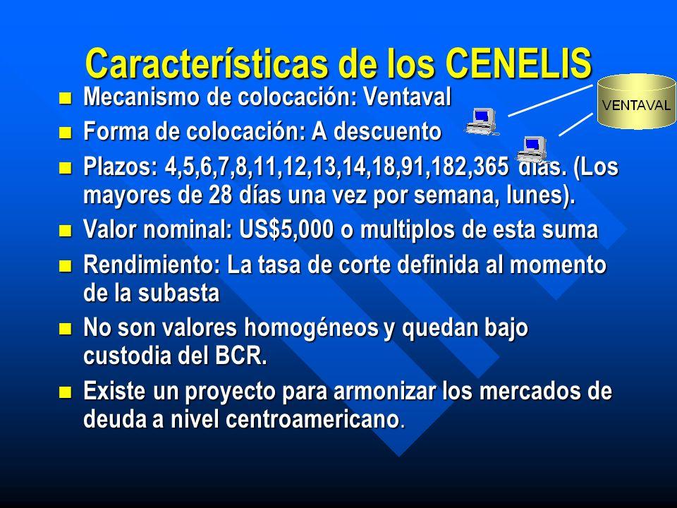 Instrumentos emitidos A raíz de la Ley de integración monetaria, el Banco Central para garantizar la liquidez del sistema económico, emite CENELIS, (Certificados de Negociación de Liquidez) A raíz de la Ley de integración monetaria, el Banco Central para garantizar la liquidez del sistema económico, emite CENELIS, (Certificados de Negociación de Liquidez)
