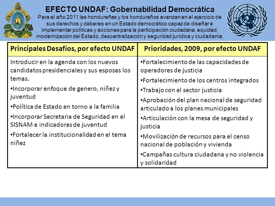 Principales Desafíos, por efecto UNDAFPrioridades, 2009, por efecto UNDAF Introducir en la agenda con los nuevos candidatos presidenciales y sus esposas los temas.
