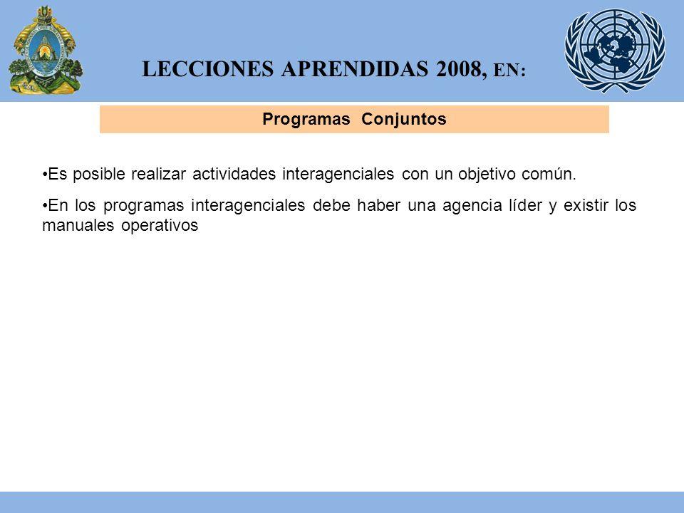 LECCIONES APRENDIDAS 2008, EN: Programas Conjuntos Es posible realizar actividades interagenciales con un objetivo común.