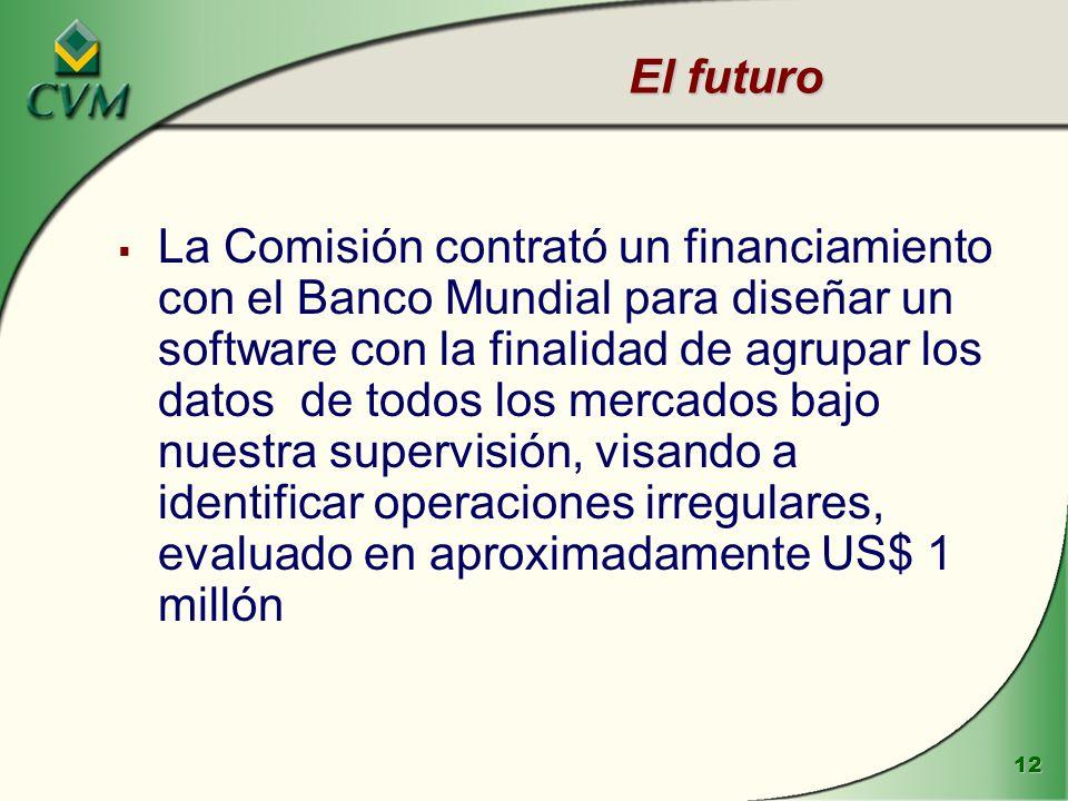 12 El futuro La Comisión contrató un financiamiento con el Banco Mundial para diseñar un software con la finalidad de agrupar los datos de todos los m