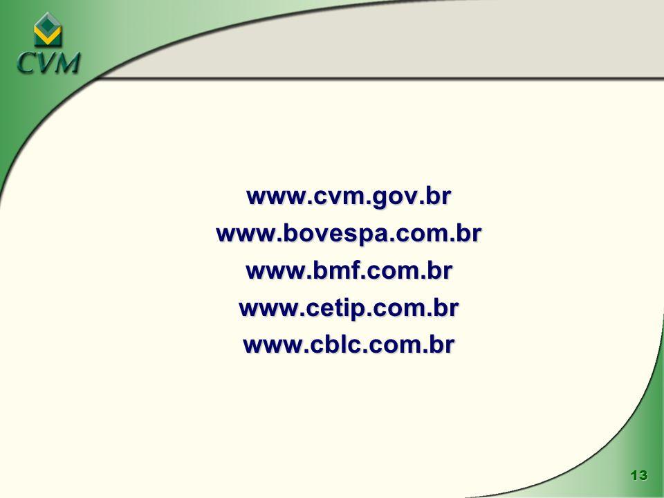 13 www.cvm.gov.brwww.bovespa.com.brwww.bmf.com.brwww.cetip.com.brwww.cblc.com.br