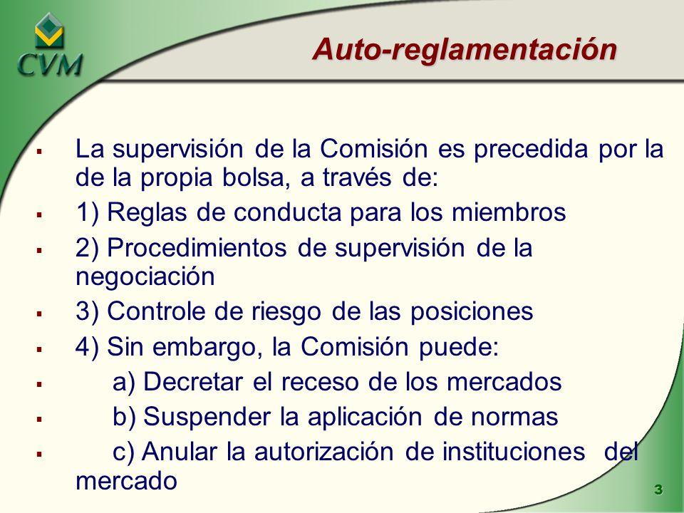 3 Auto-reglamentación La supervisión de la Comisión es precedida por la de la propia bolsa, a través de: 1) Reglas de conducta para los miembros 2) Pr