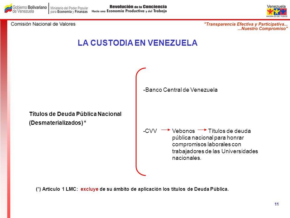 Títulos de Deuda Pública Nacional (Desmaterializados) * LA CUSTODIA EN VENEZUELA 11 - Banco Central de Venezuela -CVV Vebonos Títulos de deuda pública