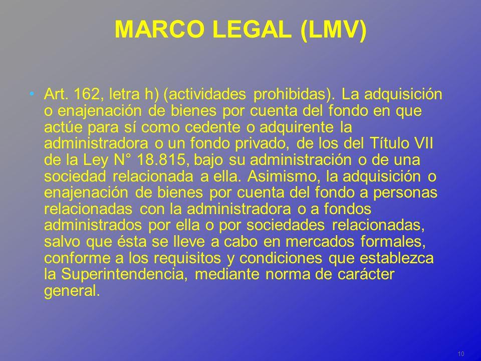 10 MARCO LEGAL (LMV) Art. 162, letra h) (actividades prohibidas).