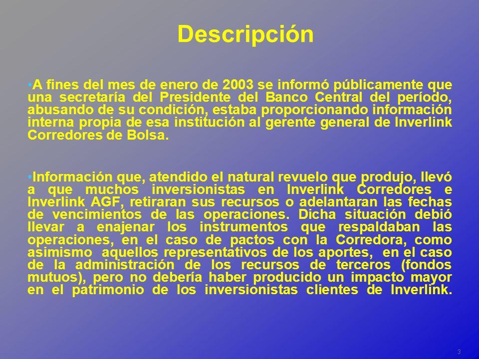 3 Descripción A fines del mes de enero de 2003 se informó públicamente que una secretaría del Presidente del Banco Central del período, abusando de su condición, estaba proporcionando información interna propia de esa institución al gerente general de Inverlink Corredores de Bolsa.