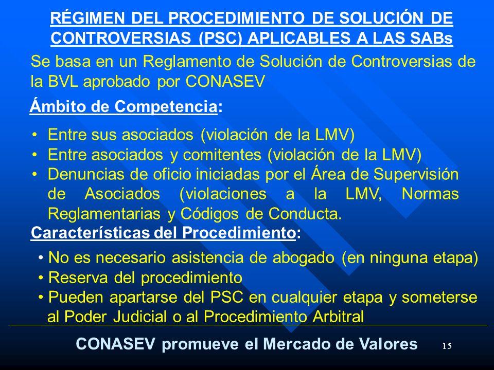 15 RÉGIMEN DEL PROCEDIMIENTO DE SOLUCIÓN DE CONTROVERSIAS (PSC) APLICABLES A LAS SABs CONASEV promueve el Mercado de Valores Se basa en un Reglamento