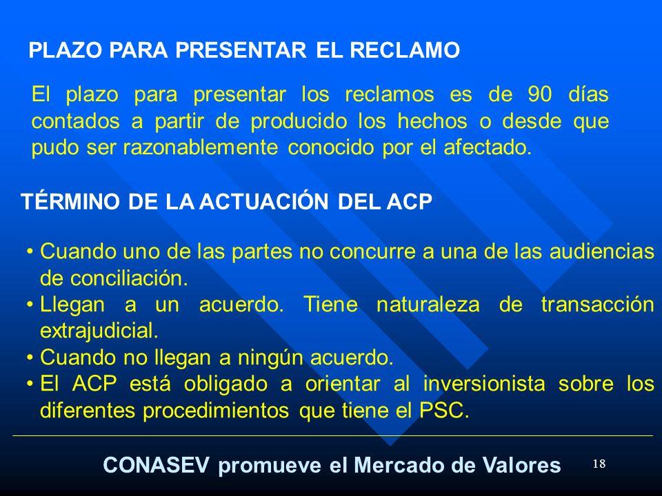 18 CONASEV promueve el Mercado de Valores TÉRMINO DE LA ACTUACIÓN DEL ACP Cuando uno de las partes no concurre a una de las audiencias de conciliación