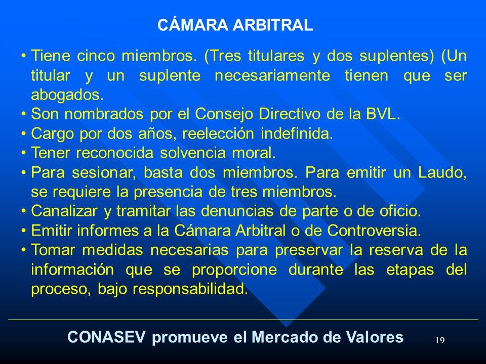 19 CONASEV promueve el Mercado de Valores CÁMARA ARBITRAL Tiene cinco miembros. (Tres titulares y dos suplentes) (Un titular y un suplente necesariame