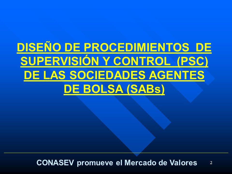 2 CONASEV promueve el Mercado de Valores DISEÑO DE PROCEDIMIENTOS DE SUPERVISIÓN Y CONTROL (PSC) DE LAS SOCIEDADES AGENTES DE BOLSA (SABs)