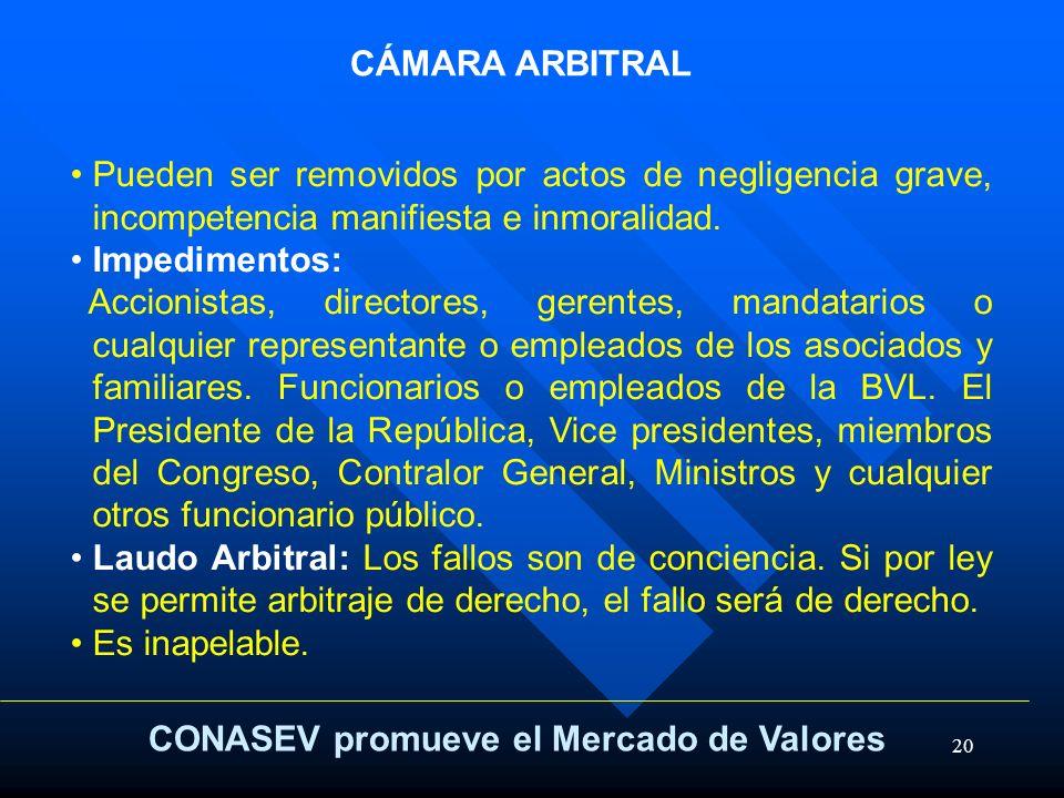 20 CONASEV promueve el Mercado de Valores CÁMARA ARBITRAL Pueden ser removidos por actos de negligencia grave, incompetencia manifiesta e inmoralidad.