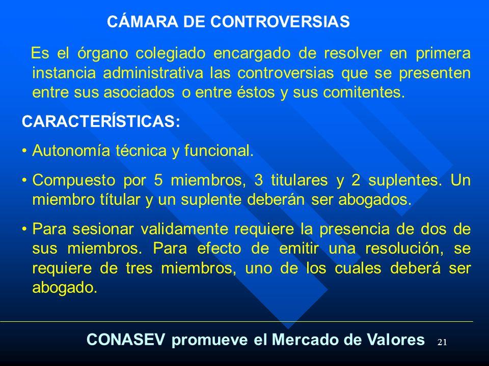 21 CÁMARA DE CONTROVERSIAS Es el órgano colegiado encargado de resolver en primera instancia administrativa las controversias que se presenten entre s