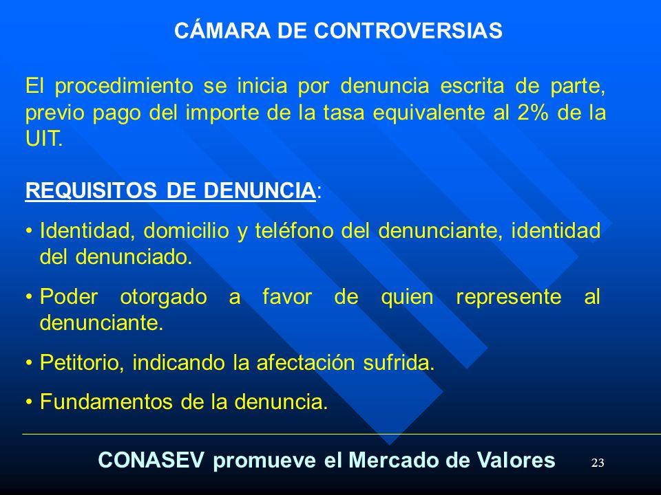 23 CÁMARA DE CONTROVERSIAS REQUISITOS DE DENUNCIA: Identidad, domicilio y teléfono del denunciante, identidad del denunciado. Poder otorgado a favor d