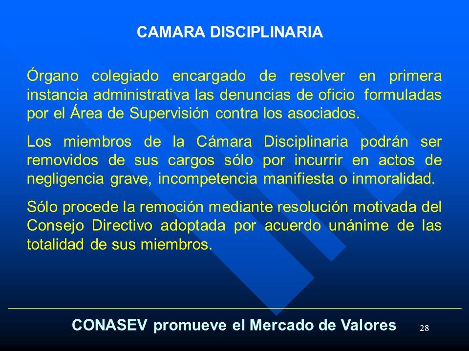 28 CONASEV promueve el Mercado de Valores CAMARA DISCIPLINARIA Órgano colegiado encargado de resolver en primera instancia administrativa las denuncia