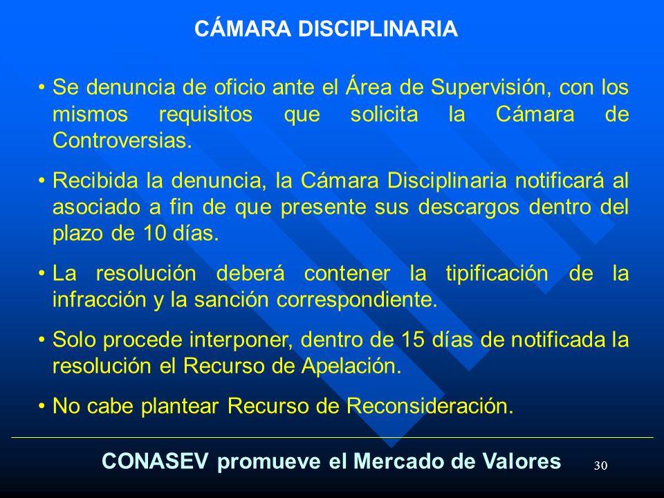 30 CONASEV promueve el Mercado de Valores CÁMARA DISCIPLINARIA Se denuncia de oficio ante el Área de Supervisión, con los mismos requisitos que solici