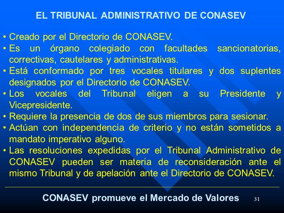 31 CONASEV promueve el Mercado de Valores EL TRIBUNAL ADMINISTRATIVO DE CONASEV Creado por el Directorio de CONASEV. Es un órgano colegiado con facult