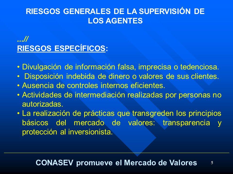 5 CONASEV promueve el Mercado de Valores RIESGOS GENERALES DE LA SUPERVISIÓN DE LOS AGENTES...// RIESGOS ESPECÍFICOS: Divulgación de información falsa