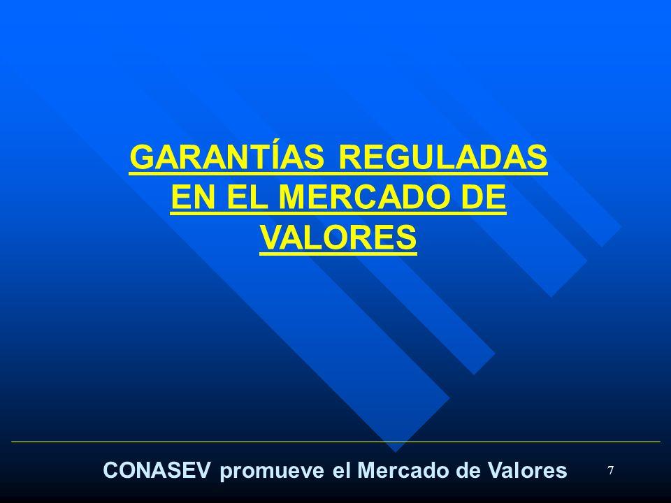 7 CONASEV promueve el Mercado de Valores GARANTÍAS REGULADAS EN EL MERCADO DE VALORES