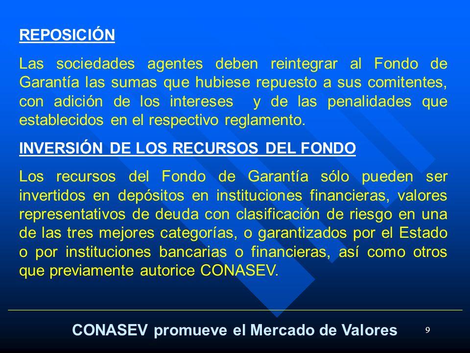 9 CONASEV promueve el Mercado de Valores REPOSICIÓN Las sociedades agentes deben reintegrar al Fondo de Garantía las sumas que hubiese repuesto a sus