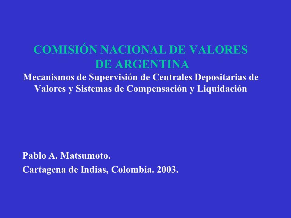 COMISIÓN NACIONAL DE VALORES DE ARGENTINA Mecanismos de Supervisión de Centrales Depositarias de Valores y Sistemas de Compensación y Liquidación Pabl