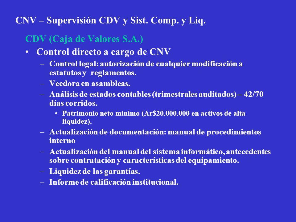 CNV – Supervisión CDV y Sist. Comp. y Liq. CDV (Caja de Valores S.A.) Control directo a cargo de CNV –Control legal: autorización de cualquier modific