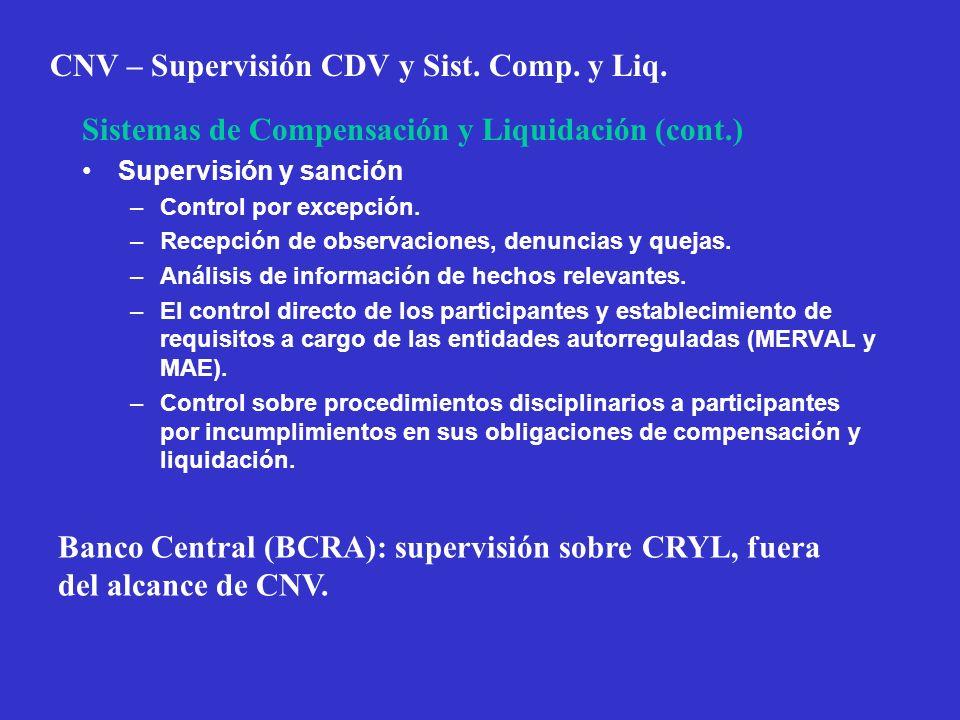 CNV – Supervisión CDV y Sist. Comp. y Liq. Sistemas de Compensación y Liquidación (cont.) Supervisión y sanción –Control por excepción. –Recepción de