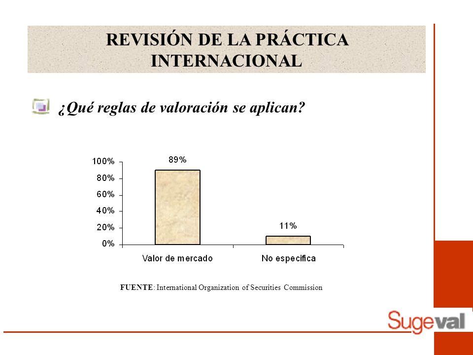 REVISIÓN DE LA PRÁCTICA INTERNACIONAL ¿Qué reglas de valoración se aplican? FUENTE: International Organization of Securities Commission