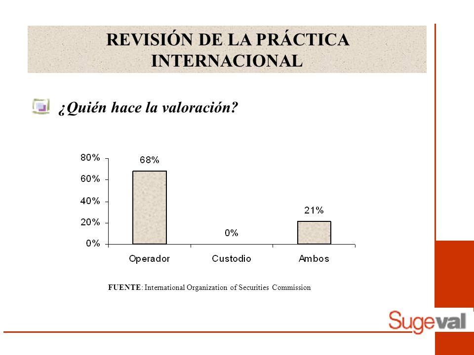 REVISIÓN DE LA PRÁCTICA INTERNACIONAL ¿Quién hace la valoración? FUENTE: International Organization of Securities Commission