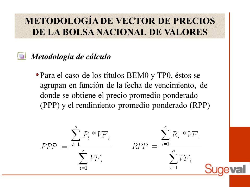 METODOLOGÍA DE VECTOR DE PRECIOS DE LA BOLSA NACIONAL DE VALORES Metodología de cálculo Para el caso de los títulos BEM0 y TP0, éstos se agrupan en fu