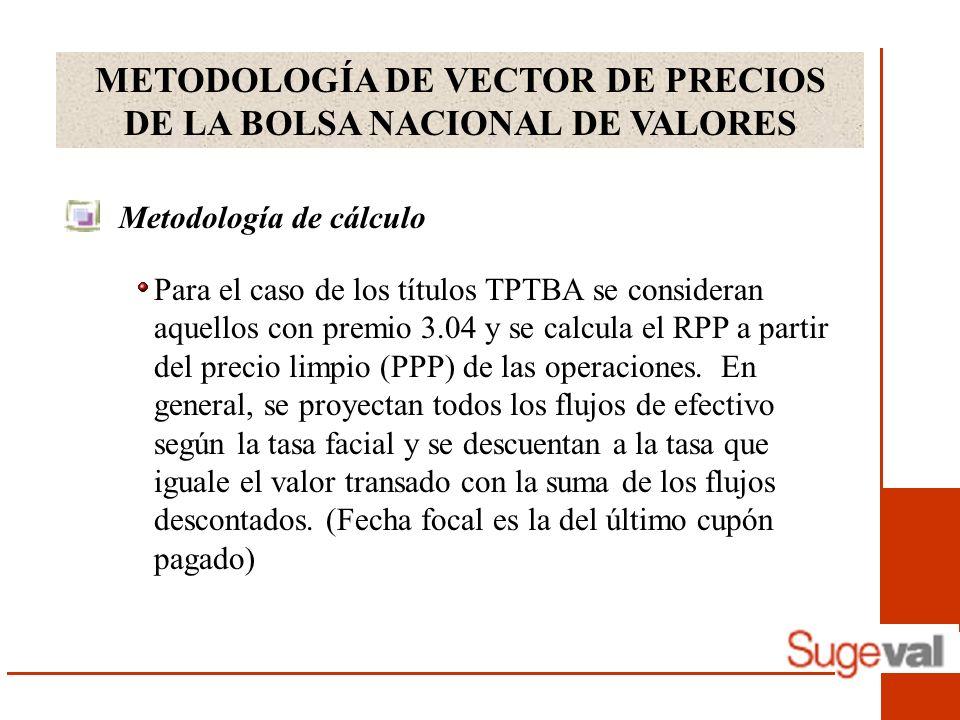METODOLOGÍA DE VECTOR DE PRECIOS DE LA BOLSA NACIONAL DE VALORES Metodología de cálculo Para el caso de los títulos TPTBA se consideran aquellos con premio 3.04 y se calcula el RPP a partir del precio limpio (PPP) de las operaciones.