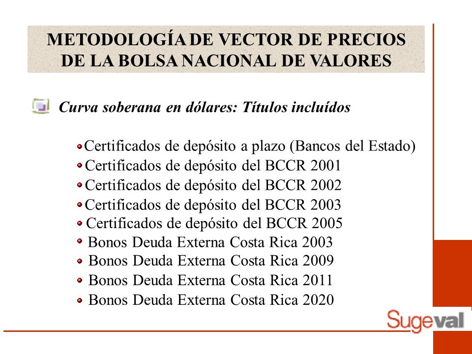 METODOLOGÍA DE VECTOR DE PRECIOS DE LA BOLSA NACIONAL DE VALORES Curva soberana en dólares: Títulos incluídos Certificados de depósito a plazo (Bancos del Estado) Certificados de depósito del BCCR 2001 Bonos Deuda Externa Costa Rica 2003 Bonos Deuda Externa Costa Rica 2009 Bonos Deuda Externa Costa Rica 2011 Bonos Deuda Externa Costa Rica 2020 Certificados de depósito del BCCR 2002 Certificados de depósito del BCCR 2003 Certificados de depósito del BCCR 2005