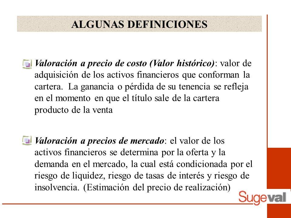 ALGUNAS DEFINICIONES Valoración a precio de costo (Valor histórico): valor de adquisición de los activos financieros que conforman la cartera.