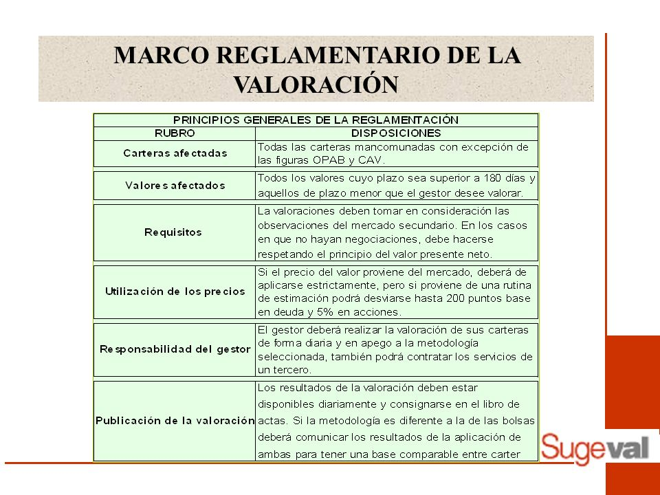 MARCO REGLAMENTARIO DE LA VALORACIÓN